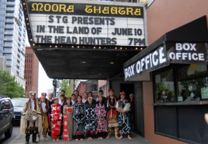 Gwa'wina Dancers under the Moore Theatre marquis, Seattle, June 10, 2008.
