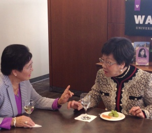 Former Taiwanese Vice President Annette Lu visits with UW Press advisory board member Nan Hahn.