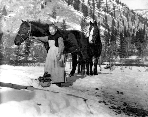 Chinese immigrants constituted a prominent community in nineteenth-century Idaho mining camps. Lalu Nathoy, better known as Polly Bemis, represents the rare Chinese woman whose experiences have not been entirely lost to history. February 6, 1910. Photo by Charles Shepp. Photo Courtesy of Idaho State Historical Society, 62-44.7.