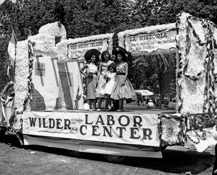 By the late 1950s,  Mexican Americans were publicly sharing their unique cultural heritage. A parade float from the Wilder Labor Center celebrates Mexican American historical traditions. Photo courtesy of Idaho State Historical Society, 76-102.63q.