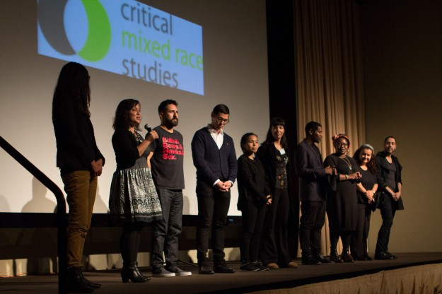 Closing remarks at Mixed Roots Stories Live Performance at the November 2014 Critical Mixed Race Studies conference. Photo by Ken Tanabe.
