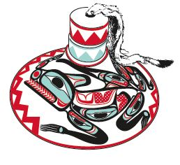 Woven spruce root hat, Haida. A configurative design of a split wolf is painted around the hat in black, red, and blue-green. Private collection.