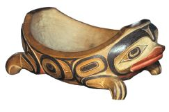 Wooden bowl, Haida. The interrelation of two-dimensional design with sculptural form is well illustrated in this frog bowl by the master Haida carver, Charles Edensaw. University of British Columbia Museum of Anthropology A7054.