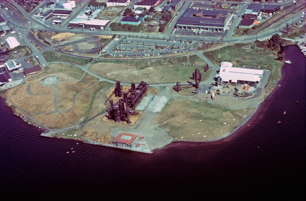 Aerial view of Gas Works Park soon after it opened, c. 1975.
