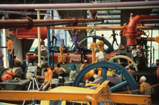 Barn and machinery with dancers and filmmaker, Gas Works Park, Seattle, c. 1975,