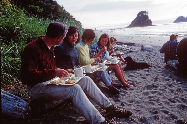 The beach served as lunchroom for the 1966 archaeology crew.