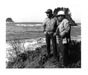 Richard Daugherty (left) and Ed Claplanhoo assessed the sea-bank erosion caused by winter's storm-driven waves.