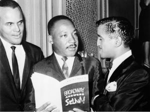"Harry Belafonte, Martin Luther King, Jr., and Sammy Davis, Jr. at the ""Broadway Answers Selma"" benefit show at the Majestic Theatre."