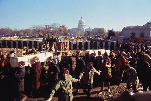 Nov. 15, 1969, Washington, DC, USA --- Protestors perform a March of Death, carrying symbolic coffins to represent American soldiers killed in the Vietnam War, during Moratorium Day demonstrations along Constitution Avenue in Washington DC. --- Image by © Bettmann/CORBIS