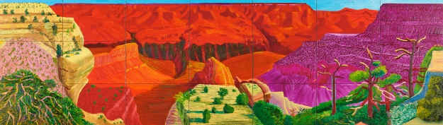 David Hockney, The Grand Canyon, 1998, Oil on canvas, 48 1/2 x 169 1/2 inches, Paul G. Allen Family Collection