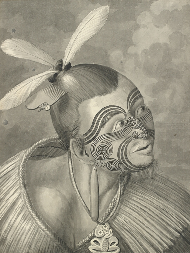 Portrait of a New Zealand Man. Sydney Parkinson, ca. 1769. Pen and wash drawing.
