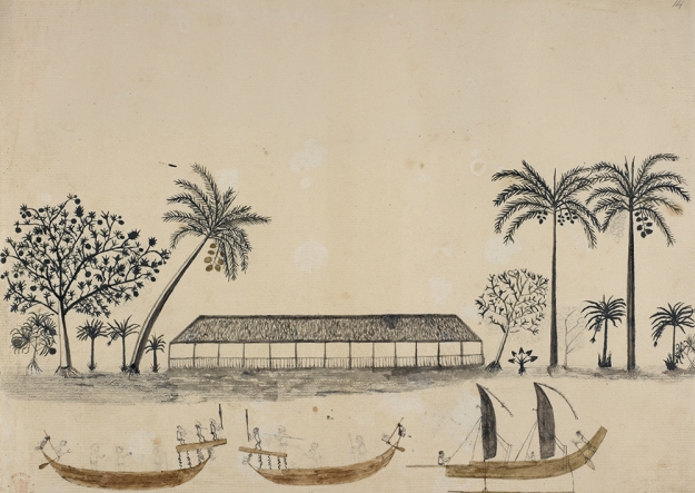 A Scene in Tahiti. Tapaia, 1769, unfinished. Pencil and watercolor.