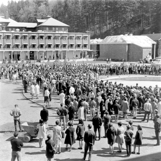 April 1968 photo of the first public event at Western Washington University's Red Square, a fifteen-minute silent vigil for Martin Luther King Jr. (Photo by Jack Carver, Whatcom Museum)