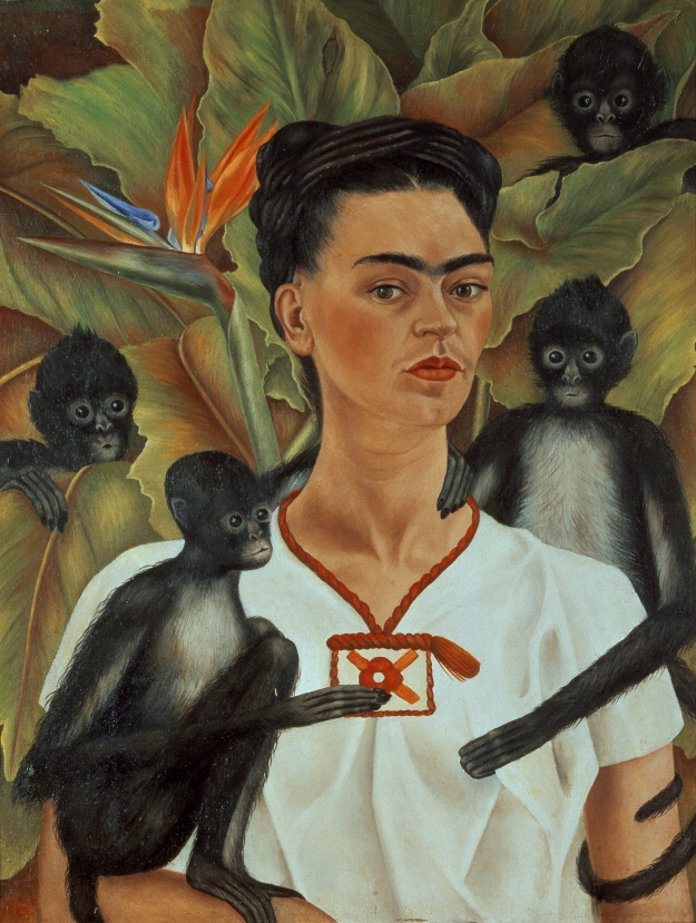 Frida Kahlo Self-portrait with monkeys 1943 oil on canvas 81.5 x 63 cm The Jacques and Natasha Gelman Collection of mexican Art © 2016 Banco de Mexico Diego Rivera Frida Kahlo Museums Trust, Mexico DF ***This image may only be used in conjunction with editorial coverage of Frida Kahlo and Diego Rivera: from the Jacques and Natasha Gelman Collection 25 Jun-9 Oct 2016, at the Art Gallery of New South Wales. This image may not be cropped or overwritten. Prior approval in writing required for use as a cover. Caption details must accompany reproduction of the image. *** Media contact: Hannah.McKissock-Davis@ag.nsw.gov.au *** Local Caption *** ***This image may only be used in conjunction with editorial coverage of Frida Kahlo and Diego Rivera: from the Jacques and Natasha Gelman Collection 25 Jun-9 Oct 2016, at the Art Gallery of New South Wales. This image may not be cropped or overwritten. Prior approval in writing required for use as a cover. Caption details must accompany reproduction of the image. *** Media contact: Hannah.McKissock-Davis@ag.nsw.gov.au