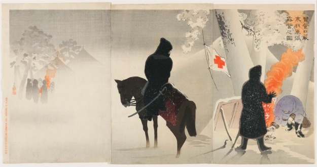 Kobayashi Kiyochika (1847-1915), Our Troops Set Up a Bivouac at Yingkou while Braving the Bitter Cold, 1895, published by Matsuki Heikichi V (1872-1931), triptych of color woodblock prints, 178:1010a-c.