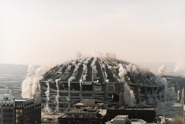 The implosion of the Seattle Kingdome. March 26, 2000. Courtesy of the Seattle Municipal Archives.