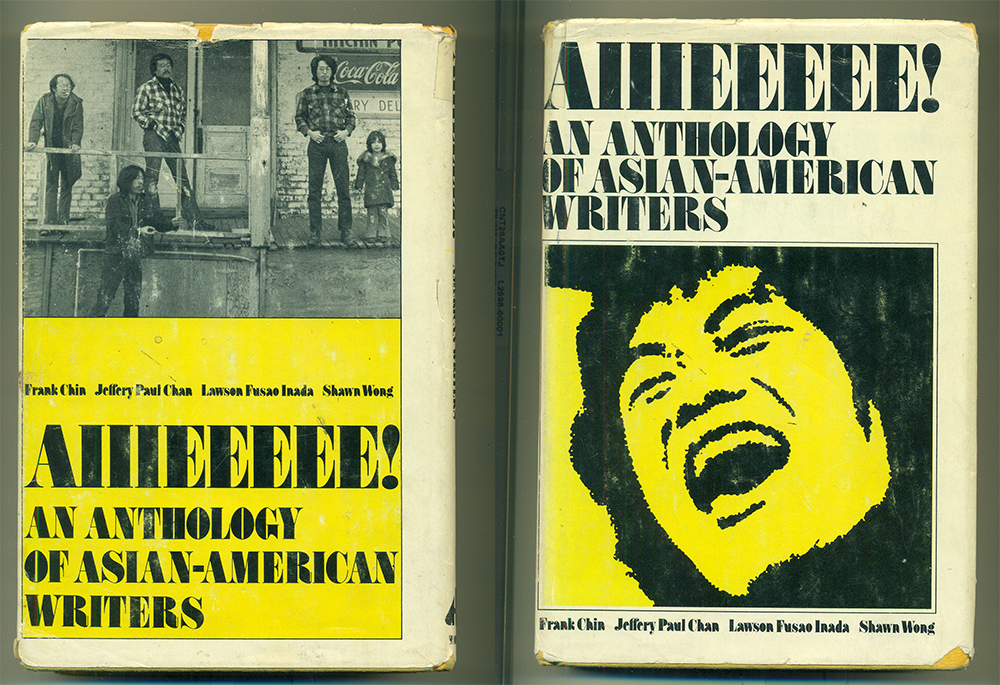 The front and back cover of the original edition of Aiiieeeee! in black, white, and yellow with a photo of the four editors on the back cover